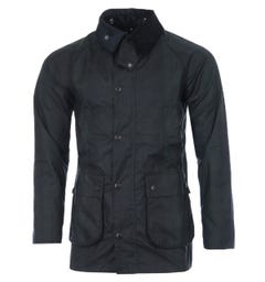 Barbour White Label SL Beadle Black Watch Waxed Cotton Jacket - Navy