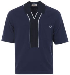 Fred Perry x Casely-Hayford Knitted Placket Piqué Shirt - Evening Blue
