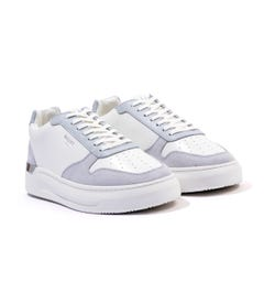 Mallet Hoxton Leather & Suede Trainers - Grey & White