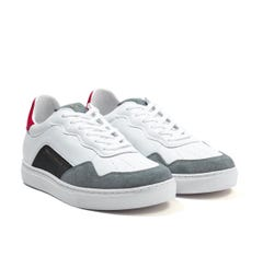 Armani Exchange Leather Trainers - White & Red