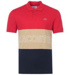 Lacoste Ultra-Lightweight Colour Block Polo Shirt - Red, Beige & Navy
