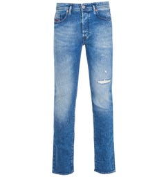 Diesel Buster Pantaloni Slim Tapered Fit Medium Blue Denim Jeans
