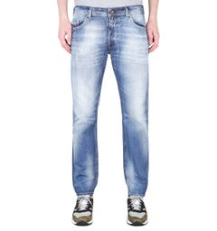 Diesel Thommer Pantaloni Slim Fit Light Blue Wash Distressed Denim Jeans