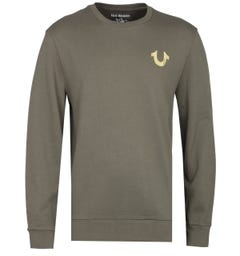 True Religion Gold Buddha Khaki Green Sweatshirt