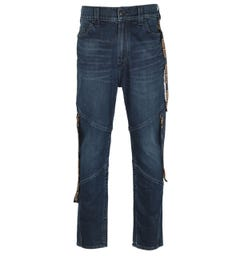 True Religion Logan Slim Fit Long Rise Logo Tab Blue Denim Jeans