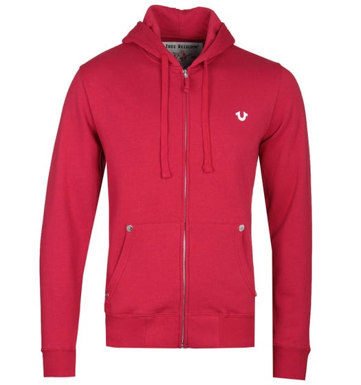 True Religion Classic Logo Zip-Through Red Hoodie