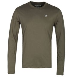 True Religion Long Sleeve Buddha Khaki Print T-Shirt