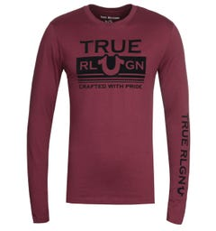 True Religion Long Sleeve Still Mill Burgundy T-Shirt