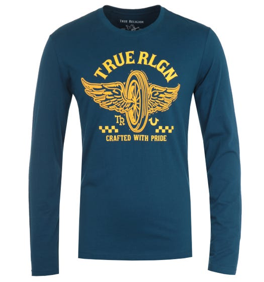 True Religion Barcode Long Sleeve Steel Blue T-Shirt
