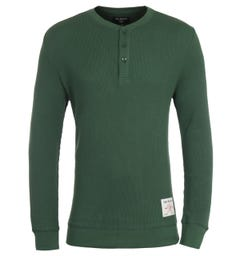 True Religion Thermal Green Long Sleeve Henley T-Shirt