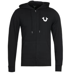 True Religion Lullaby Black Zip Hooded Sweatshirt