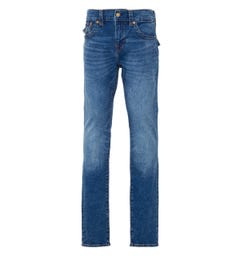 True Religion Rocco Flap Relaxed Skinny Fit Jeans - Medium Wash Blue