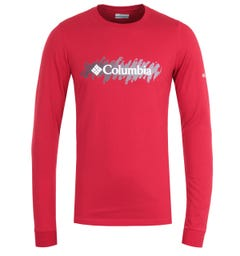 Columbia Lodge Red Retro Squiggle Long Sleeve T-Shirt