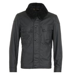 Belstaff Patrol Waxed Cotton Black Shearling Jacket