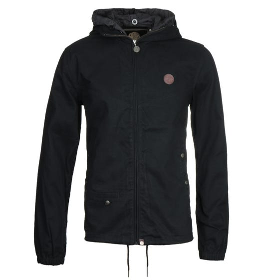 Pretty Green Zip Up Black Hooded Jacket
