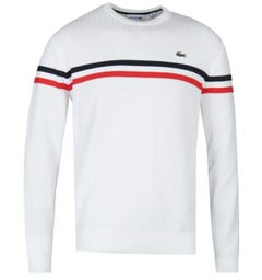Lacoste Contrasting Twin Stripe White Knitted Sweater