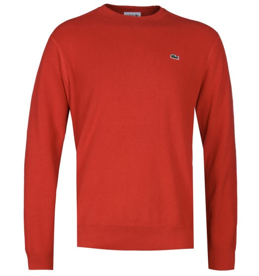 Lacoste Knitted Red Crew Neck Sweater