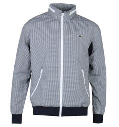 Lacoste Concealed Hood Fine Check White & Navy Zip-Through Jacket