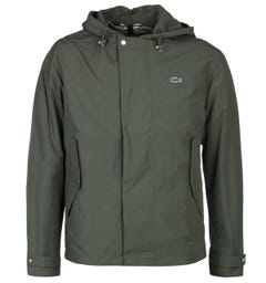 Lacoste Khaki Green Zip-Through Hooded Jacket