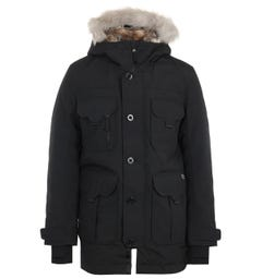 Lacoste LIVE Faux Fur Hooded Parka Jacket - Black