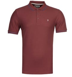 Farah GYP Honeycomb Modern Fit Burgundy Polo Shirt