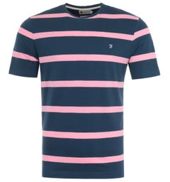 Farah Hockney Stripe Modern Fit T-Shirt - Farah Teal & Pink