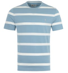 Farah Hockney Stripe Modern Fit T-Shirt - Blue Grey & White