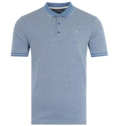 Farah Moores Modern Fit Tipped Polo Shirt - Dusky Blue