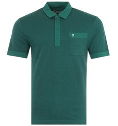 Farah Lloyd Modern Fit Jacquard Polo Shirt - Getty Green