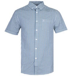 Farah Ritchie Short Sleeve Fine-Checked Power Hides Green Shirt