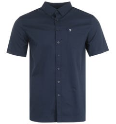 Farah Patterson Modern Fit Short Sleeve Shirt - Dark Blue