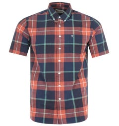 Farah Kasmin Modern Fit Short Sleeve Check Shirt - Rustic Red
