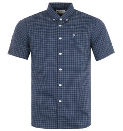 Farah Evans Modern Fit Short Sleeve Gingham Shirt - Regatta Blue