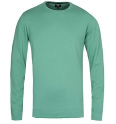 Edwin Terry Frosty Spruce Green Crew Neck Long Sleeve T-Shirt