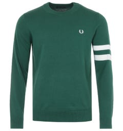 Fred Perry Tipped Sleeve Crew Neck Sweater - Green