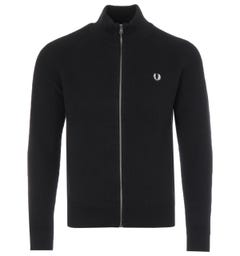 Fred Perry Ribbed Knitted Zip Through Sweater - Black