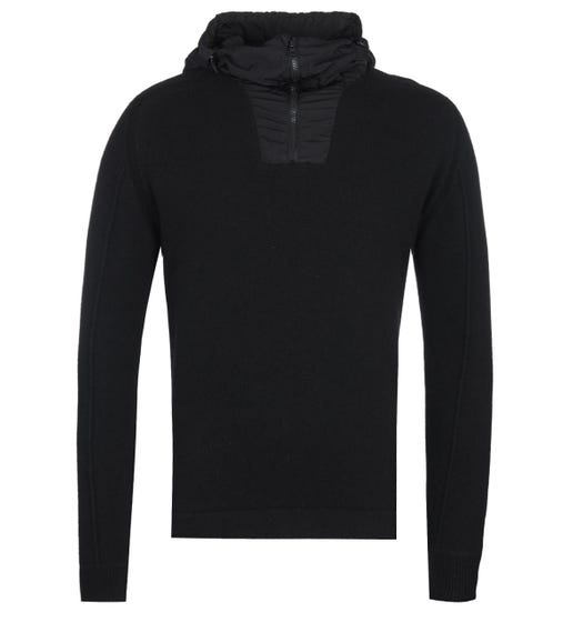 CP Company Woollen Zip-Through Arms Lens Black Sweater