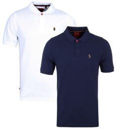 Luke 1977 Two-Pack Williams White & Navy Pique Polo Shirt