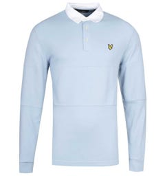 Lyle & Scott Long Sleeve Blue Dust Rugby Polo Shirt
