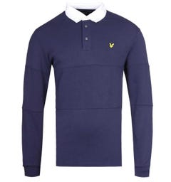 Lyle & Scott Long Sleeve Navy Rugby Polo Shirt