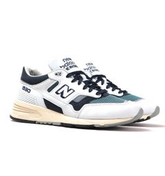 New Balance 1530 Made in England White, Grey & Petrol Leather Trainers