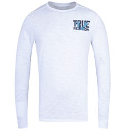 True Religion Long Sleeve Block Logo White T-Shirt