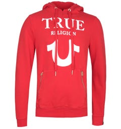 True Religion Puffy Print Red Pullover Hoodie
