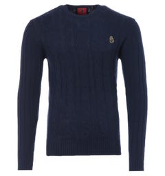 Luke 1977 Morden Cable Knit Sweater - Navy