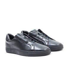 Luke 1977 Robshaw Concealed Lace Black Leather Trainers
