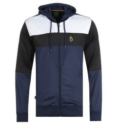 Luke 1977 Baldur Navy Colour Block Zip Hooded Sweatshirt