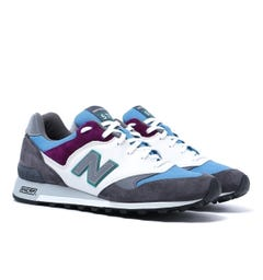 New Balance Made in UK 577 Mountain Wild Dark Grey with Blue & White Suede Trainers