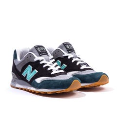 New Balance 577 Made in England Suede & Mesh Trainers - Black & Green