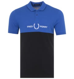 Fred Perry Block Graphic Polo Shirt - Regal Blue