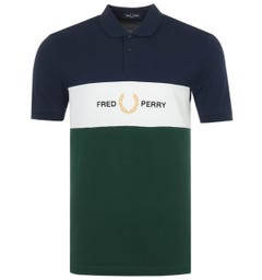 Fred Perry Embroidered Panel Polo Shirt - Carbon Blue